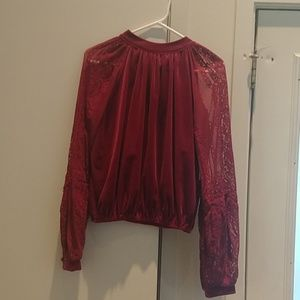 Free People velvet lace shirt